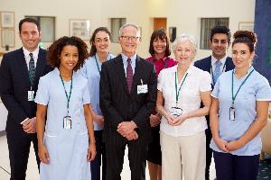 Hospital staff wearing ID Badges